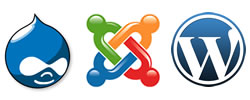 logos Drupal, Joomla & WordPress
